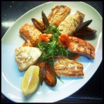 Linguine mixed grilled fish